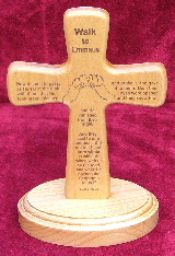 Emmaus laser engraved cross and base of Alder hardwood